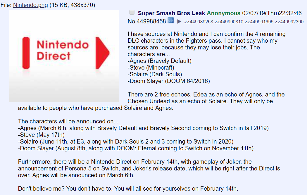 Nintendo Direct 4chan 2019