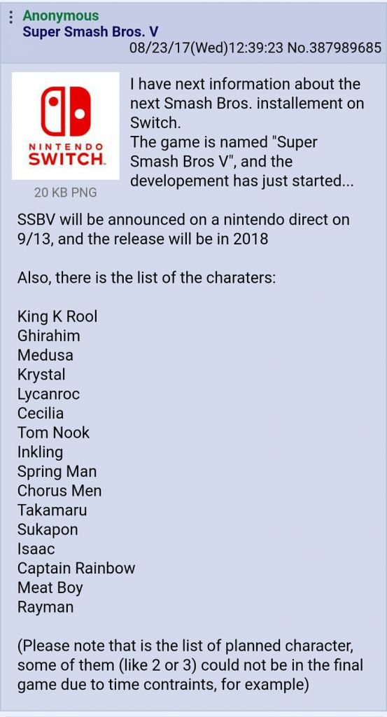 4chan Nintendo Direct 2019