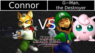 [Melee|01-19-15] Round 3: Connor (Fox) VS G~Man, TD (Luigi, Jigglypuff)