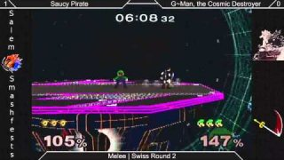 [Melee|02-09-15] Round 2: Saucy Pirate (Marth, Link) Vs G~man, TCD (Luigi)